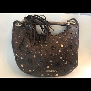 JIMMY CHOO LEATHER ZODIAC BROWN SHOULDER HOBO